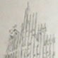 A pencil drawing of the twin towers ruins